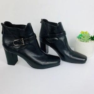 Franco Sarto Square Toe Black Ankle Boot